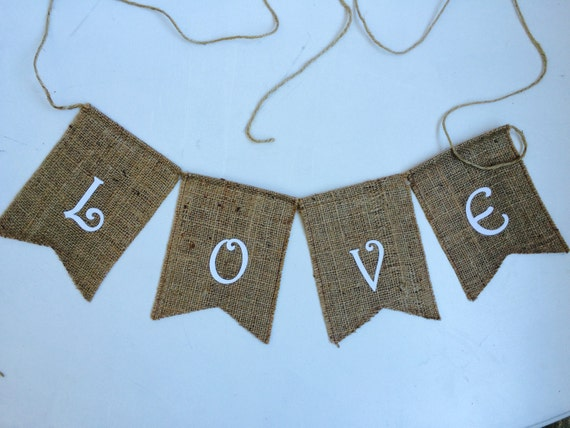 """Ready to ship! Burlap """"Love"""" sign featuring soft flock velvety letters. Wedding signs, rustic wedding decor."""
