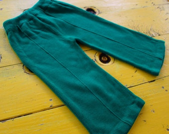 Vintage 2T BABY BOY Emerald Green Knit Pants, vintage boy pants 2T, vintage baby outfit 24 months, 2T vintage boy, retro boy 24 months