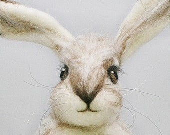 Life Size Felted Hare - Needle Felted Snowshoe Hare - Fibre art Winter hare