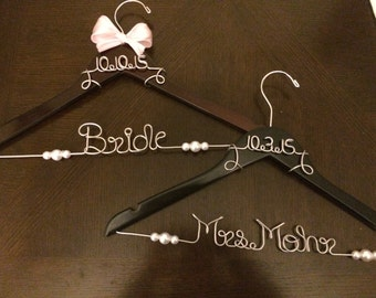 Personalized Wedding Hanger With Date. Pearls and ribbon included!