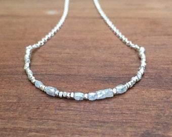 Custom Morse Code Diamond Necklace, Diamond and Karen Hill Tribe Silver Necklace, Beaded April Birthstone Precious Gemstone Necklace