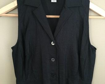 Vintage Black Linen Button Up Dress Size 0