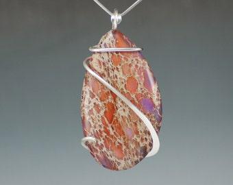 Orange and Purple Sea Sediment Jasper Cold Forged Sterling Silver Pendant