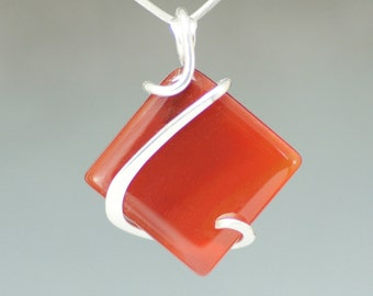 Carnelian Square Sterling Silver Cold Forged Pendant