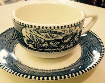 5 Sets - Currier and Ives Cups and Saucers
