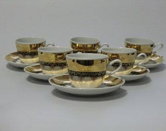 Bohemian Czechoslovakia H&C Chodau Tea Cups Coffee  Set