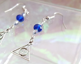 Blue and purple beads dangling earrings iridescent