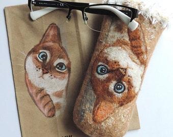 Felted glasses case, Wool glasses case, Felt glasses case, Eyeglass case, Felted cat, Sunglasses case, Case for glasses