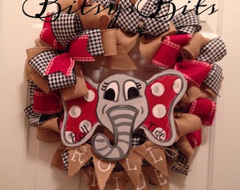 Alabama Roll Tide Mixed Burlap Wreath