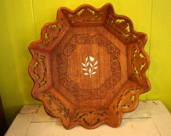Vintage Floral Wood Carved Tray
