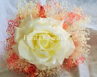 Artificial Ivory and Coral Rose Flower Wand  in Silk Roses and Gypsohilia