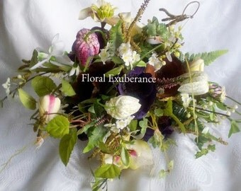 Artificial Woodland Bridal/Bridesmaid Bouquet of Silk Anemone, Hellibore, Fritalaria, Snowdrops, Catkins- silk wedding flowers