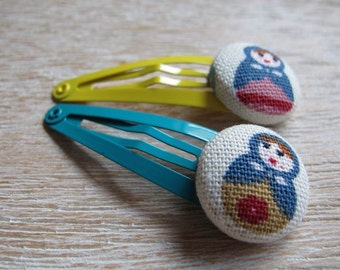 Fabric Covered Button Snap Clip - Dolls (Set of 2)