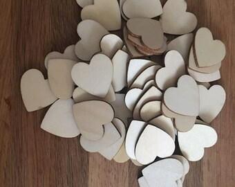 Lot of heart wood x 50 - 3CM