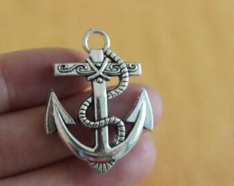 Bulk 5 Anchor Charms, Nautical Charms, Beach Charms, Silver Anchor Charms 28x40mm