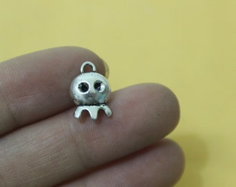 50 Ghost Charms Antique Silver Tone Halloween Charm  14*10mm