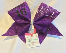Sweet 16 Tiara Cheer Bow, rhinestone cheer bow, birthday cheer bow,sparkle cheer bow, glitter cheer bow, custom cheer bow