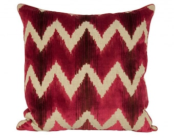 Pair Of Lee Jofa Belgium Velvet Accent Pillows. Red. Down feather insert included.