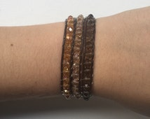 Brown Ombré leather beaded wrap bracelet