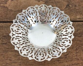 vintage trinket dish, decorative silver plate