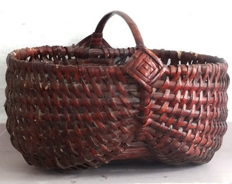 Solid Red Market Basket // French Handmade Antique Basket Woven Basket //  Antique Gathering Basket