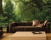 Mystical Forest MURAL, Nature Mural, Self-Adhesive Wall Covering, Peel and stick Wallpaper