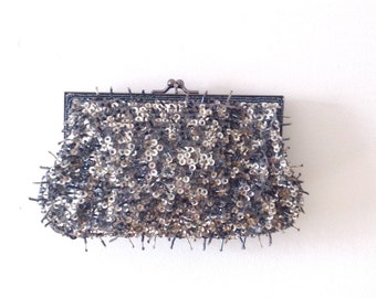 Blue and Silver Sequins Clutch with Metal Clasp