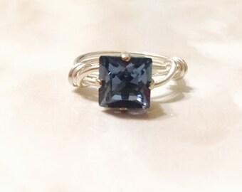 Denim Blue Swarovski Crystal, Sterling Silver, 8mm Princess Cut, Wire Wrapped Ring