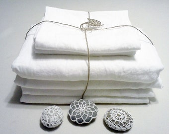 White Linen sheets, king, flat sheet+fitted sheet+pillowcases, 100% natural pre washed linen bedding, Eco certified fabric