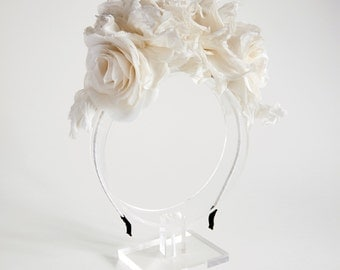 Bridal silk flower headband, headpiece - flower headband, Ready to Ship