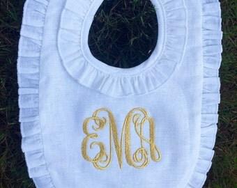 Monogram Ruffle Bib- Linen - For girls