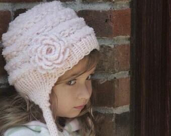 Baby girls Hat. Newborn knit hat. Knitted newborn hat. Baby girls knitted hat. Flower hat. Crochet baby girls hat. Soft hat. Age 0- 3 years
