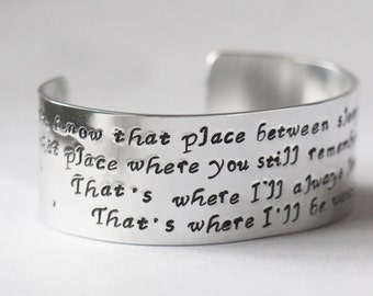 You Know That Place Bewteen asleep and awake Peter Pan Quote Cuff Bracelet ..... Hand Stamped - Fully customisable Peter Pan Gift