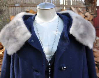 Womens Vintage Navy Coat With Silver Mink Collar