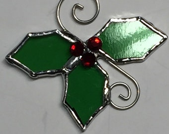 Ornaments, Holly Ornaments, Christmas Ornaments, Stained Glass Mini Holly Ornaments