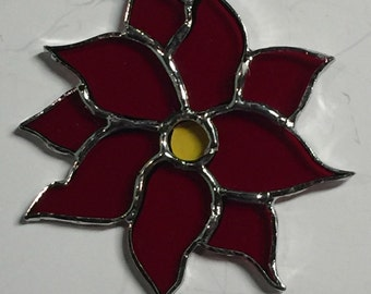 Poinsetta,  Stained Glass Poinsettias, Christmas Ornaments, Poinsettia Sun Catcher