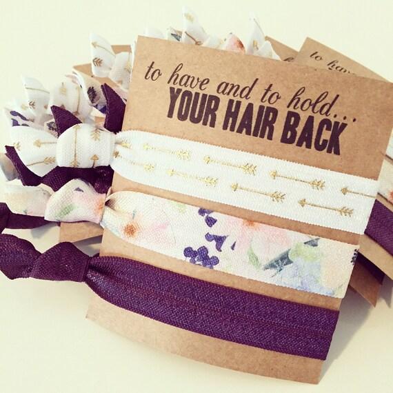 Hair Tie Bridesmaid Gift | Plum Eggplant Floral Hair Ties, Boho Arrows Hair Tie Favor, Bridesmaid Gift, Gold Plum Purple Bohemian Wedding