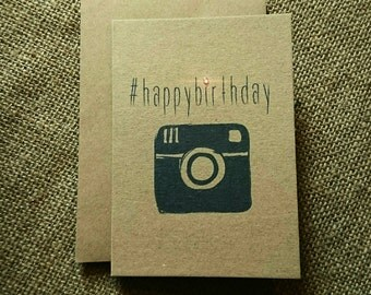 Insta #happybirthday greeting card. Birthday.