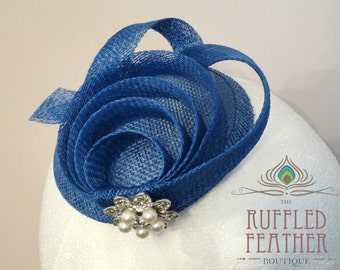 Royal / cobalt blue sinamay fascinator, hat, head piece, with sinamay loops and a vintage pearl and crystal pendant