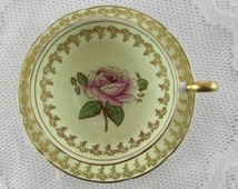 Rose Tea Cup and Saucer by Spencer Stevenson, Hand Painted  with Gold Border, English Bone China