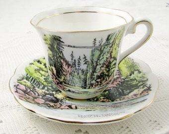 Vintage Tea Cup and Saucer by Taylor and Kent, Bone China, Capilano Suspension Bridge and Canyon, Vancouver Souvenir Tea Cup