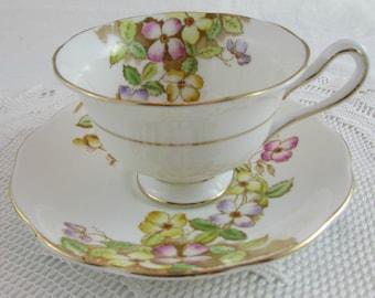 Vintage Royal Albert Tea Cup and Saucer Bone China Celmatis Pattern