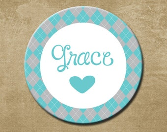 Personalized Girls Melamine Plate,Teal and Gray Argyle, Dishwasher Safe, Birthday Gift, Childrens Dinner Plate,Preppy,  Custom, Name Plate