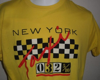 Vintage Original 1980s NYC New York City Taxi Cab Yellow Soft Thin Ched T Shirt XL