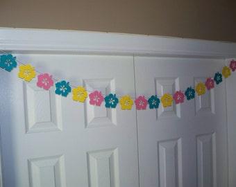 Hibiscus Flower Garland - Teal, Medium Pink & Primary Yellow Cardstock - Hawaiian Luau Birthday Party Baby Shower