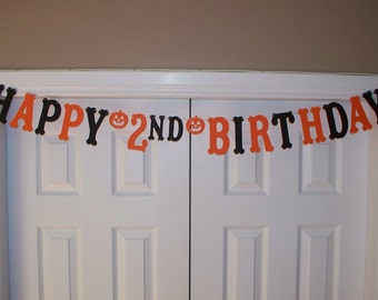 HAPPY BIRTHDAY Letter Banner - Orange, Black - Card Stock - Age Birthday Sign - Halloween - Banner - Wall Decor - Halloween Birthday Party