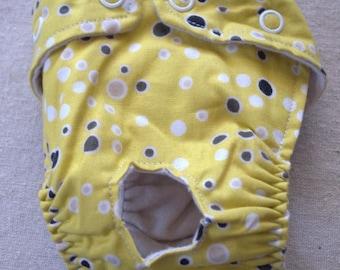 FREE SHIPPING. Dog diaper. In season diaper. Dog panty. Mustard Polka Dots XX-Small