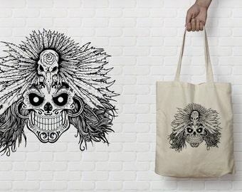 ToteBag skull Mexican in pen.