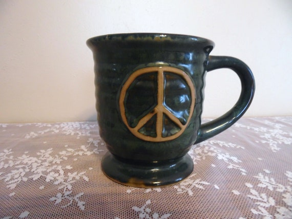 large natures home stoneware peace symbol coffee mug ceramic