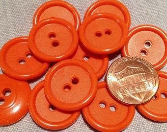 "12 Bright Orange Sew-through Plastic Buttons 19mm 3/4"" # 7791"